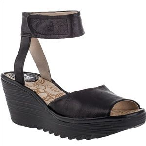 Fly London Yula Black Leather Ankle Strap Wedge 38